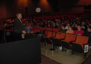 N.E.O.A. Community Affairs Director and Narcotics Trainer Tom Janette speaks to Shelton High School students about the dangers of Designer Drugs and Pharmaceuticals during a PowerPoint presentation.