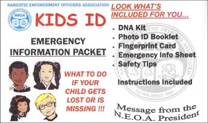 Our Kids ID program, whichnow includes the brand new Kids ID DNA Kit, helps parents keep valuable information close at handabout their child in casethe child becomes lost or is missing.
